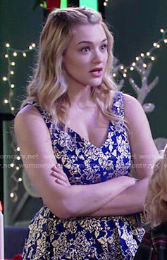 Summer's blue and gold floral dress on The Young and the Restless