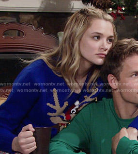 Summer's blue reindeer sweater on The Young and the Restless