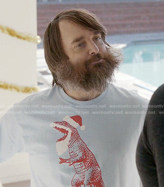 Tandy's blue santa t-rex t-shirt on Last Man on Earth