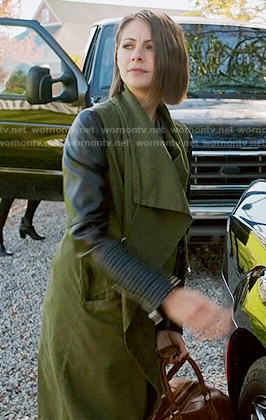 Thea's green draped coat with leather sleeves on Arrow
