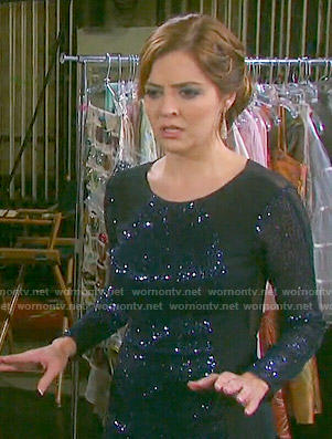 Theresa's navy blue sequined long sleeve dress on Days of our Lives