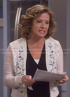 Vanessa's white lace front cardigan on Last Man Standing