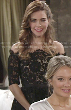 Victoria's black lace off-shoulder dress at Abby's wedding on The Young and the Restless