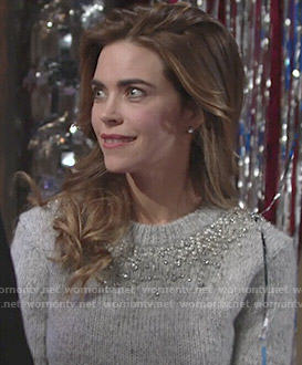 Victoria's grey embellished sweater and buckled skirt on The Young and the Restless