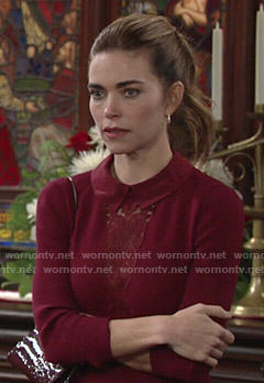 Victoria's red collared dress with lace inset on The Young and the Restless