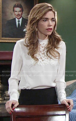 Victoria's white lace panel blouse on The Young and the Restless
