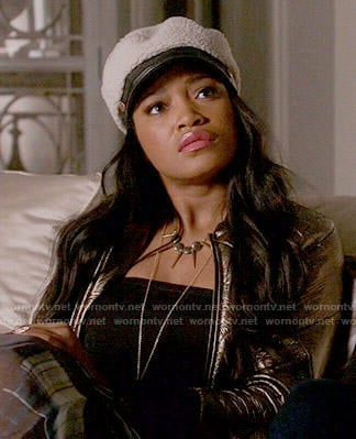 Zayday's gold quilted jacket on Scream Queens