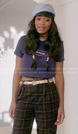 Zayday's 'No Hard Feelings' top and plaid pants on Scream Queens
