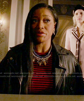 Zayday's red striped top and leather jacket on Scream Queens