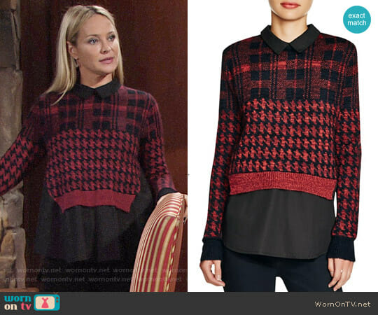 French Connection Layered Effect Printed Sweater worn by Sharon Collins (Sharon Case) on The Young & the Restless