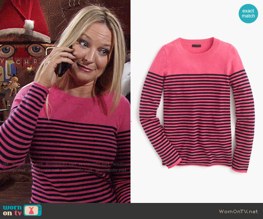 J. Crew Collection Cashmere Long Sleeve T-shirt in Fuschia Navy worn by Sharon Case on The Young & the Restless