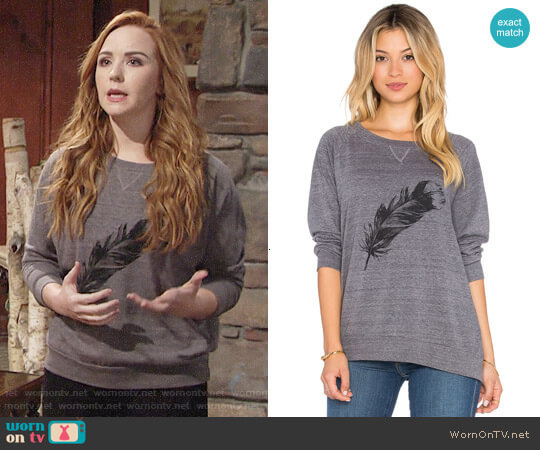 Nation LTD Feather Raglan Sweatshirt worn by Camryn Grimes on The Young & the Restless