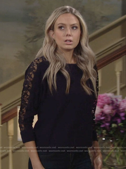 Abby's blue lace sleeve sweater on The Young and the Restless