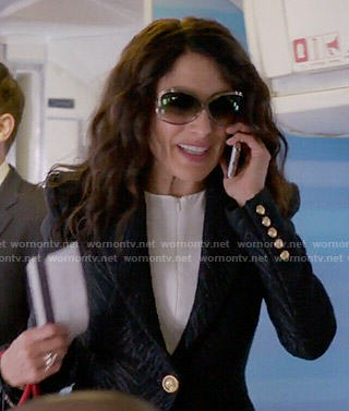Abby's black textured blazer with gold buttons on Girlfriends Guide to Divorce