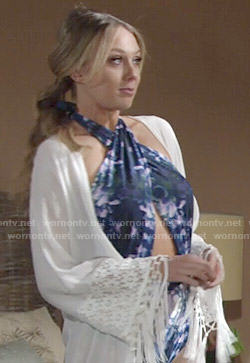 Abby's cross-front swimsuit and white fringed kimono on The Young and the Restless