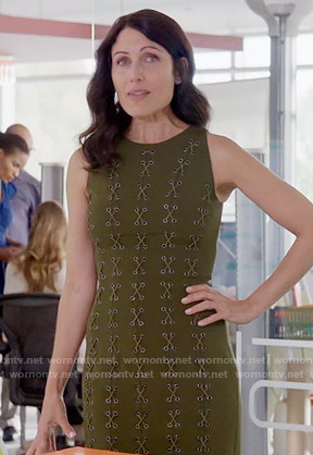 Abby's olive green lace up dress on Girlfriends Guide to Divorce