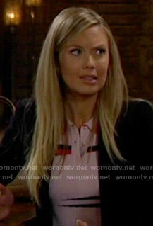 Abby's pink collared crop top and skirt on The Young and the Restless