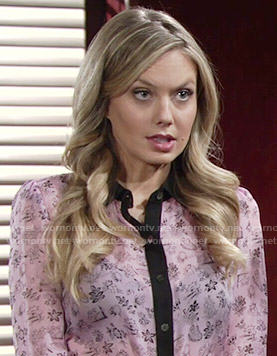 Abby's pink printed shirt with black trim on The Young and the Restless