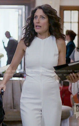 Abby's white jumpsuit with side cutouts on Girlfriends Guide to Divorce