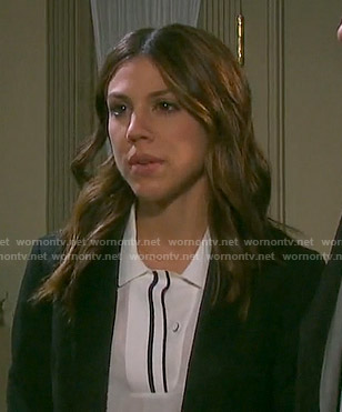 Abigail's white polo top with black trim on Days of our Lives