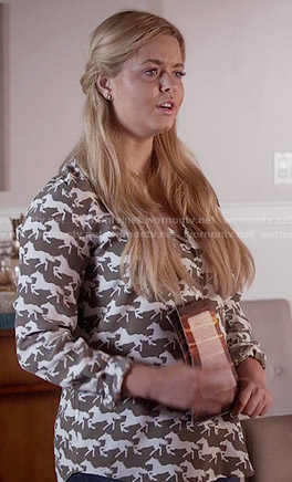Ali's olive green horse print blouse on Pretty Little Liars