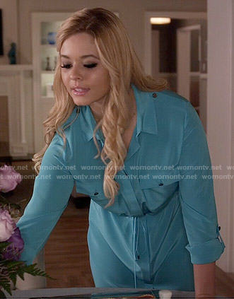 Ali's turquoise shirtdress on Pretty Little Liars