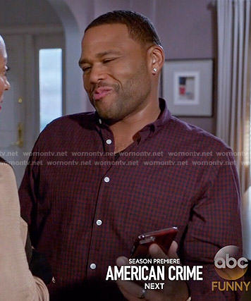 Andre's red checked shirt on Black-ish