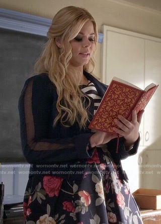 Ali's striped and floral dress and navy blue lace-up jacket on Pretty Little Liars