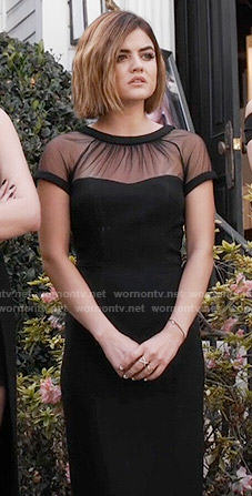 Aria's black illusion dress on Pretty Little Liars