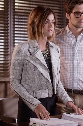 Aria's black romper and white textured print jacket on Pretty Little Liars