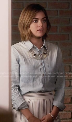 Aria's white striped skirt and chambray shirt on Pretty Little Liars