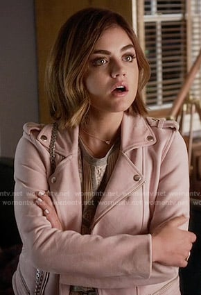 Aria's pink leather jacket on Pretty Little Liars