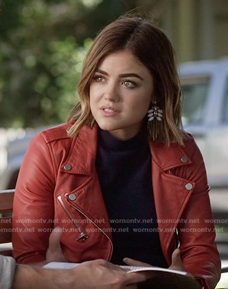 Aria's red leather jacket on Pretty Little Liars