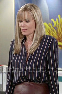 Ashley's navy vertical striped shirt on The Young and the Restless