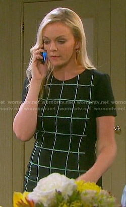 Belle's black windowpane checked dress on Days of our Lives