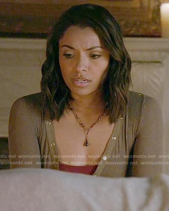 Bonnie's khaki  henley on The Vampire Diaries