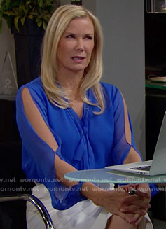 Brooke's blue split-sleeve blouse on The Bold and the Beautiful