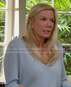 Brooke's blue v-neck sweater on The Bold and the Beautiful