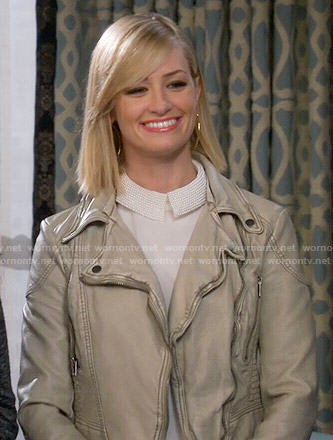 Caroline's white beaded collar top and leather jacket on 2 Broke Girls