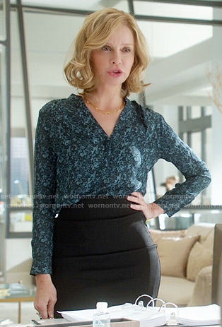 Cat's green printed long sleeve blouse on Supergirl