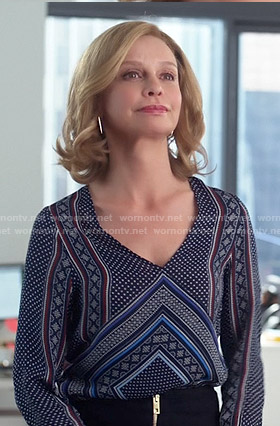 Cat's blue scarf print blouse on Supergirl
