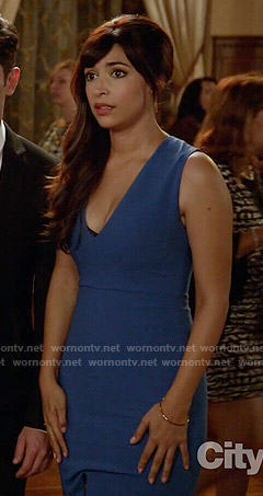 Cece's blue v-neck dress on New Girl