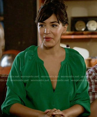 Cece's green v-neck blouse on New Girl