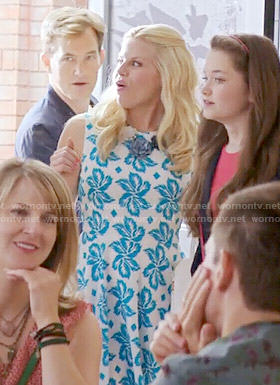 Charlene's blue and white leaf print dress on Girlfriends Guide to Divorce