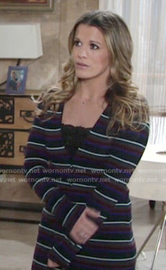 Chelsea's striped cardigan on The Young and the Restless
