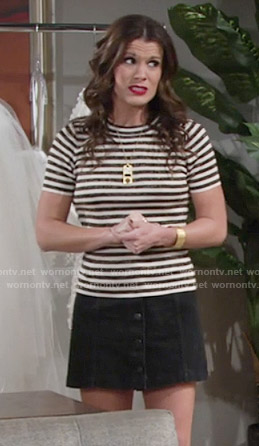 Chelsea's striped top and button front skirt on The Young and the Restless