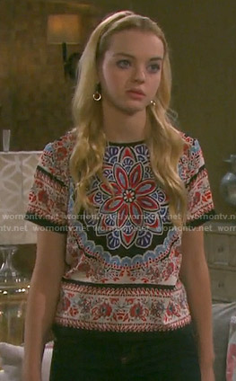 Claire's scarf print top on Days of our Lives