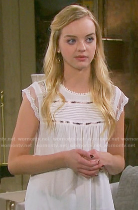 Claire's white pintucked top on Days of  our Lives