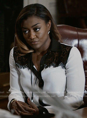 Daisy's white button down blouse with black lace on Madam Secretary