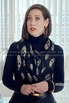 Diana's black skull print scarf on Younger